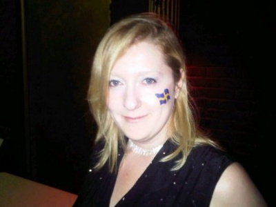 Swedish flag painted on for a Basshunter Concert :)
