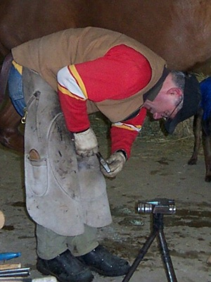 at work shoeing horse