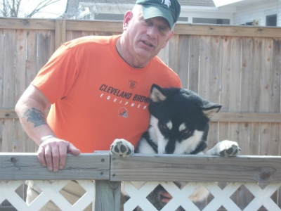 With my Alaskan Malamute.