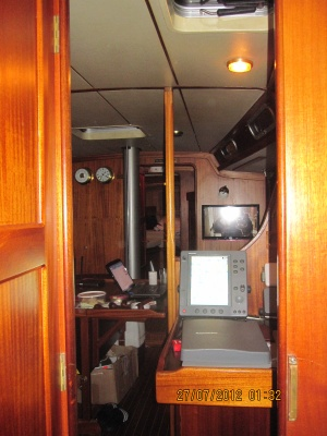 The sailboat inside.