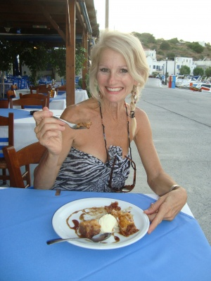 Enjoying some Baklava in Greece this summer