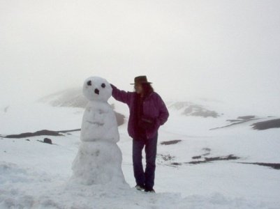 A snow man (to the left)