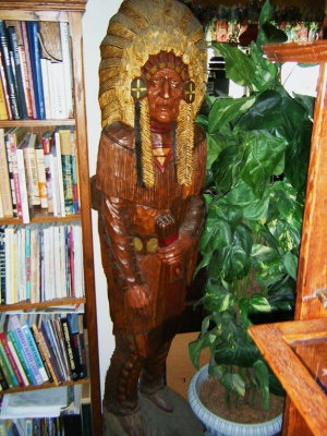 Wooden Indian in front room