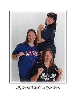 My sisters and I showing off our favorite baseball teams.